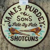 CAST IRON JAMES PURDEY SIGN NO VAT