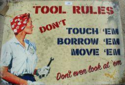 TOOLS RULES TIN SIGN NO VAT