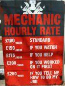 MECHANIC HOURLY RATE TIN SIGN NO VAT