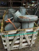 WOODEN CRATE OF POULTRY FEEDERS & DRINKERS + VAT