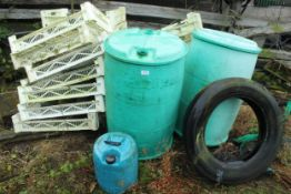 TROUGHS & DRUMS AND CONTENTS OF SHED + VAT