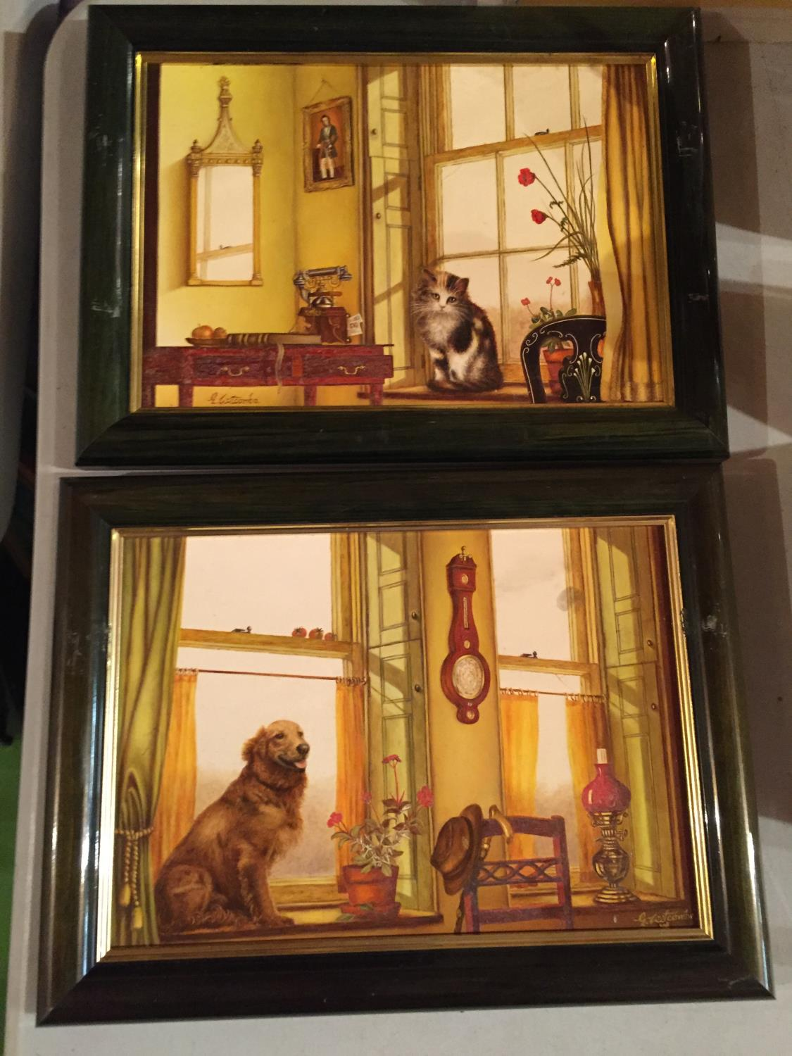 TWO FRAMED PAINTINGS OF A CAT IN A WINDOW AND A DOG IN A WINDOW - Image 2 of 6