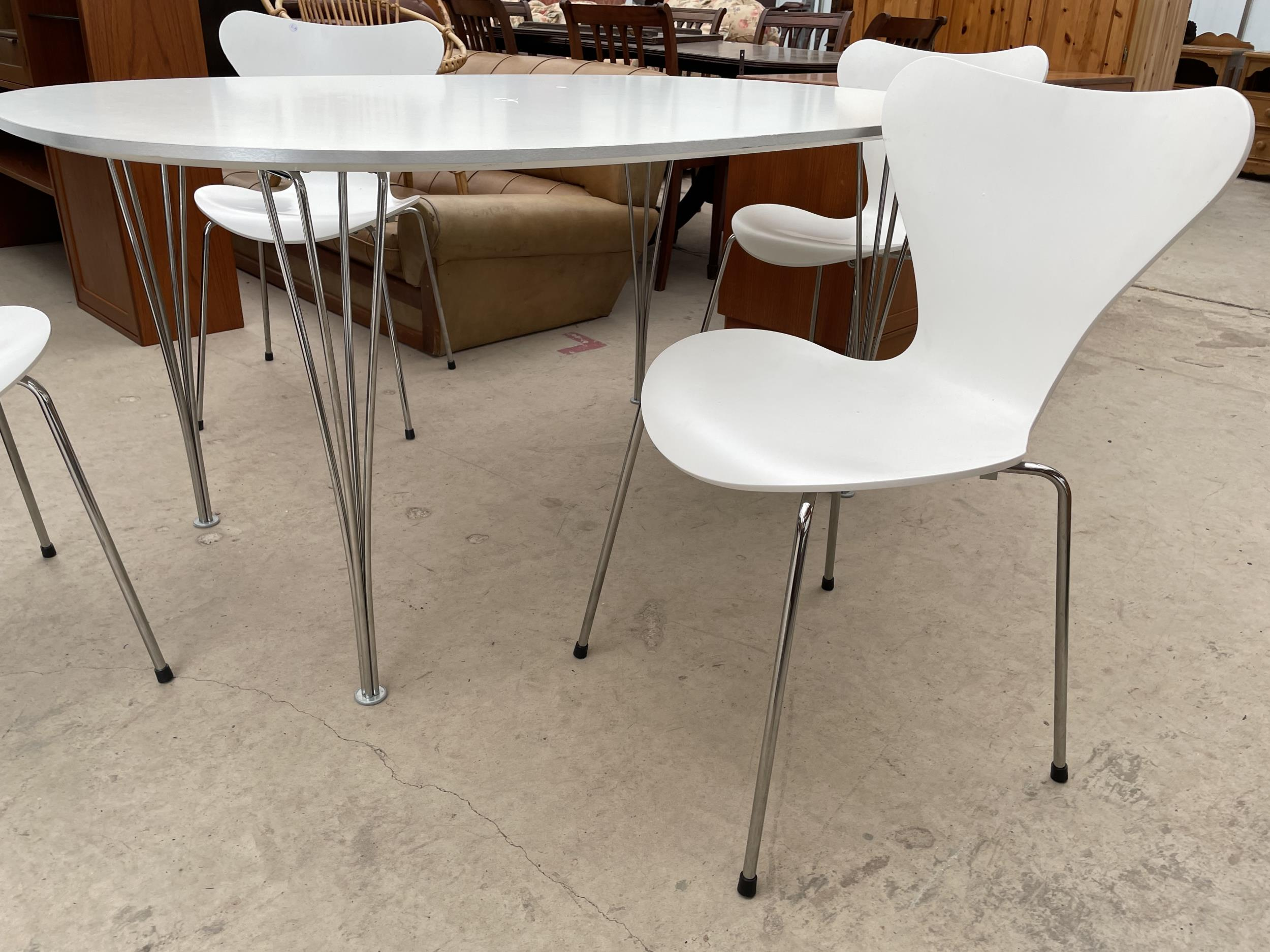 A WHITE OVULAR DINING TABLE BEARING LABEL 'MADE IN DENMARK, REPUBLIC OF FRITZ HANSEN DESIGN: PIET - Image 5 of 5