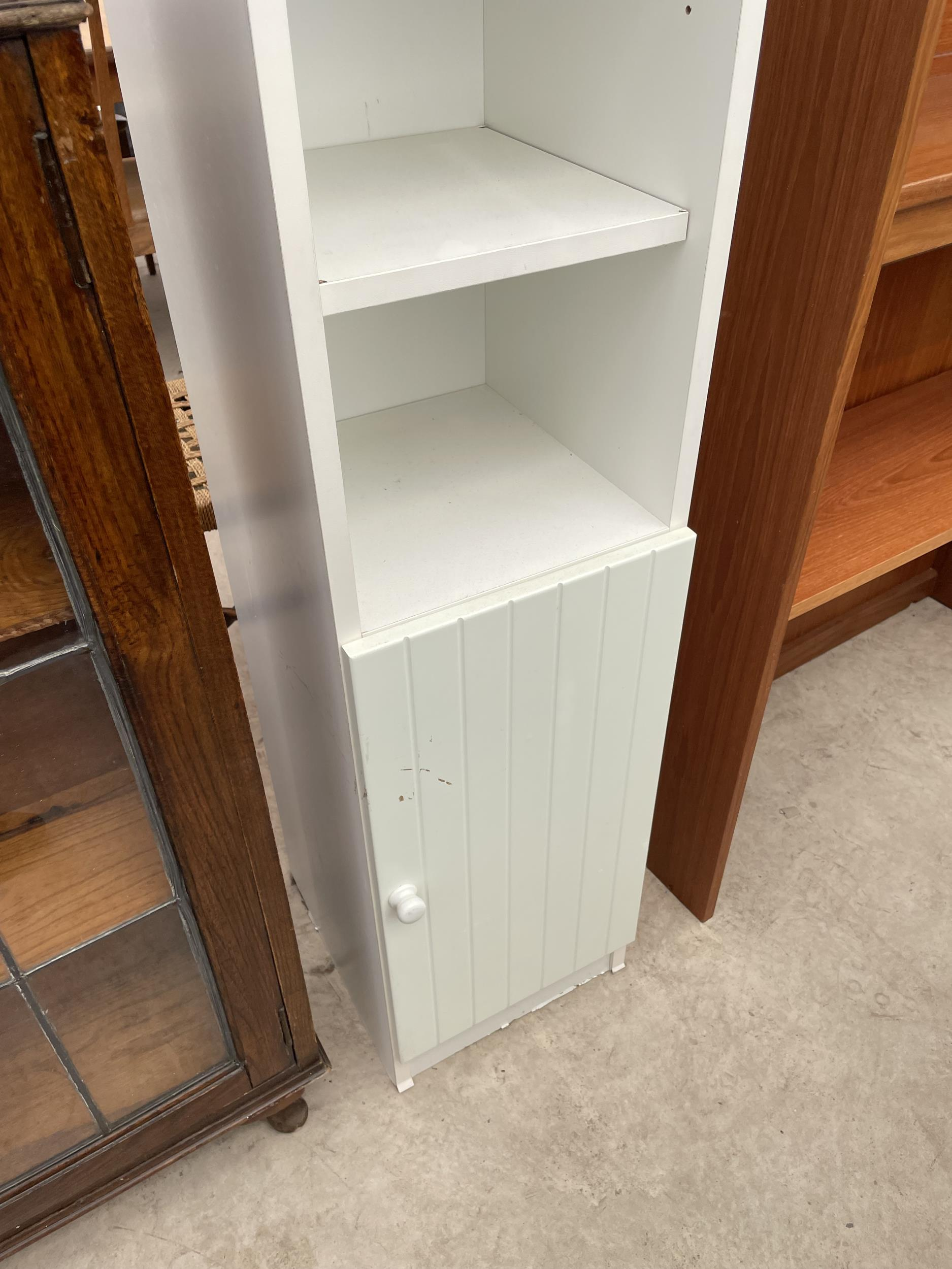 """AN EARLY 20TH CENTURY OAK GLAZED AND LEADED TWO DOOR BOOKCASE, 28.5"""" WIDE ON CABRIOLE LEGS - Image 6 of 6"""