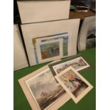 A NUMBER OF PRINTS MOUNTED AND UNMOUNTED TO INCLUDE VAN GOGH PRINTS, A COUNTRYSIDE SCENE AND A CAT