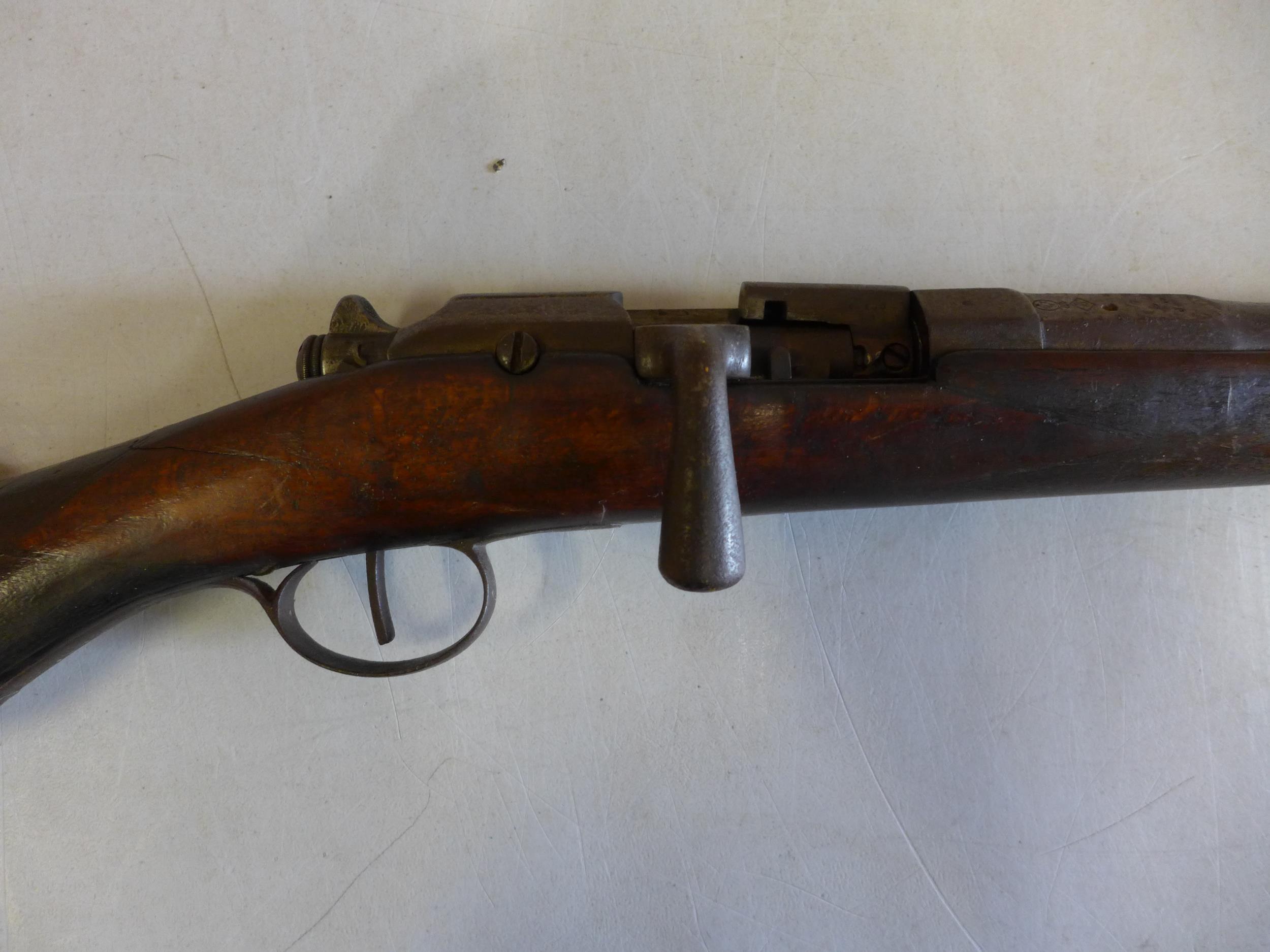 A BELGIUN MADE CHASSEPOT SMOOTH BORE BOLT ACTION SINGLE BARREL GUN, 71CM BARREL - Image 2 of 4