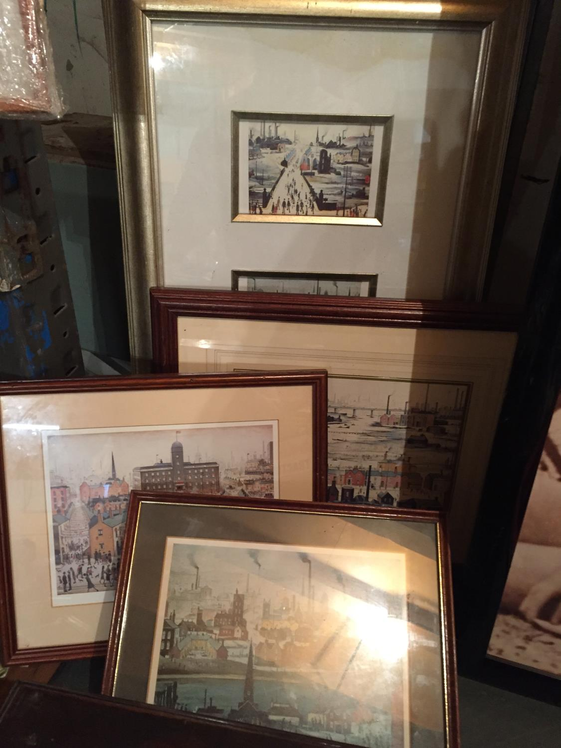 FOUR FRAMED LS LOWERY PRINTS TO INCLUDE A MONTAGE OF THREE
