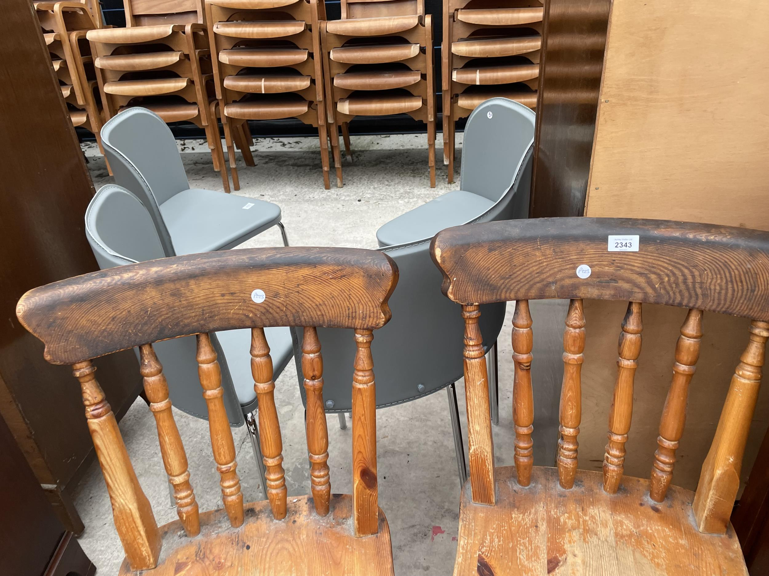 A PAIR OF PINE VICTORIAN STYLE KITCHEN CHAIRS AND SINGLE DITTO - Image 2 of 4