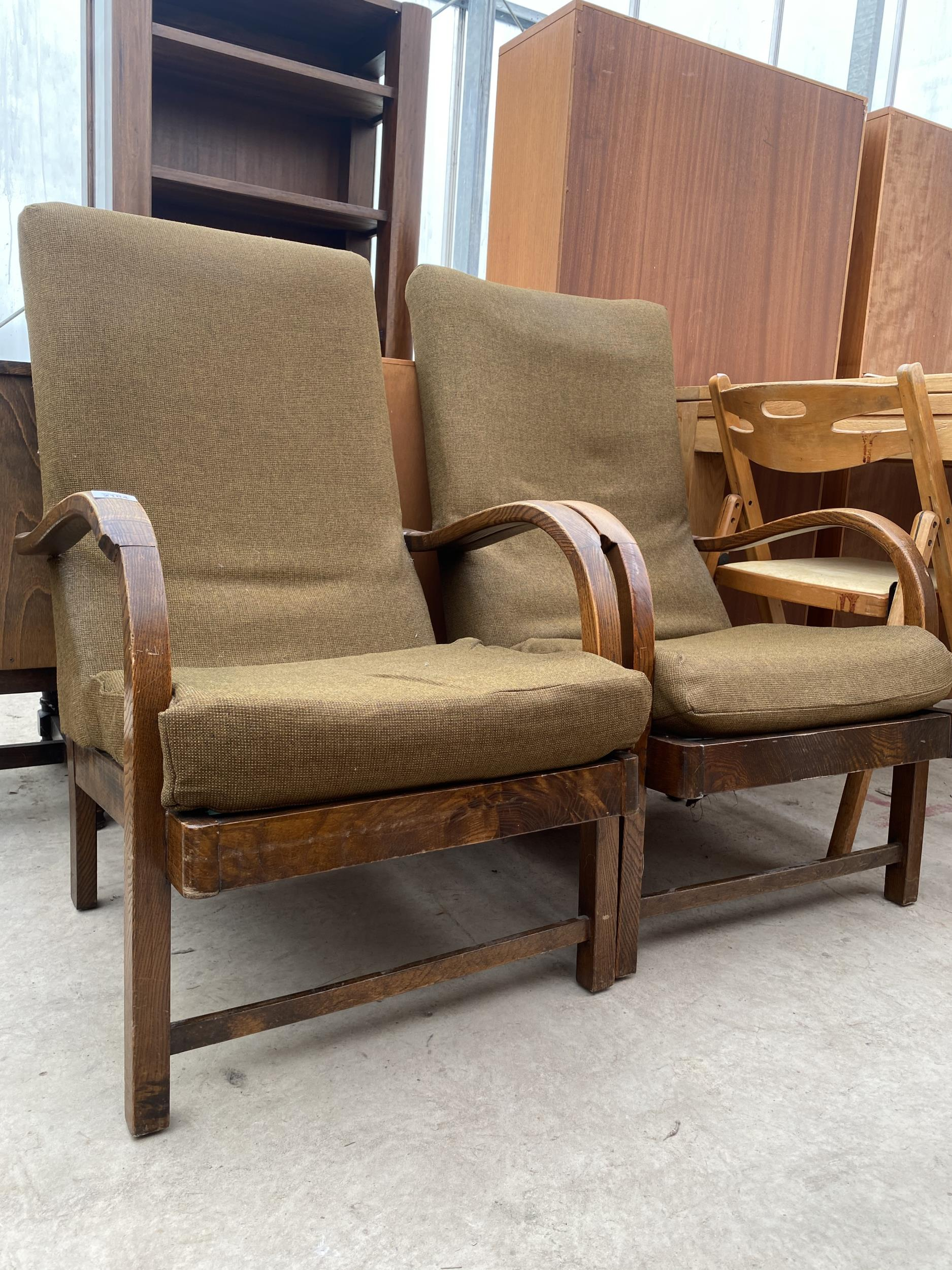 A PAIR OF ART DECO STYLE FIRESIDE CHAIRS - Image 3 of 4