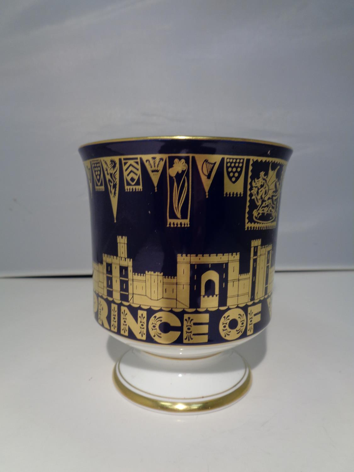 A BOXED COALPORT 'CHARLES PRINCE OF WALES 1969' GOBLET