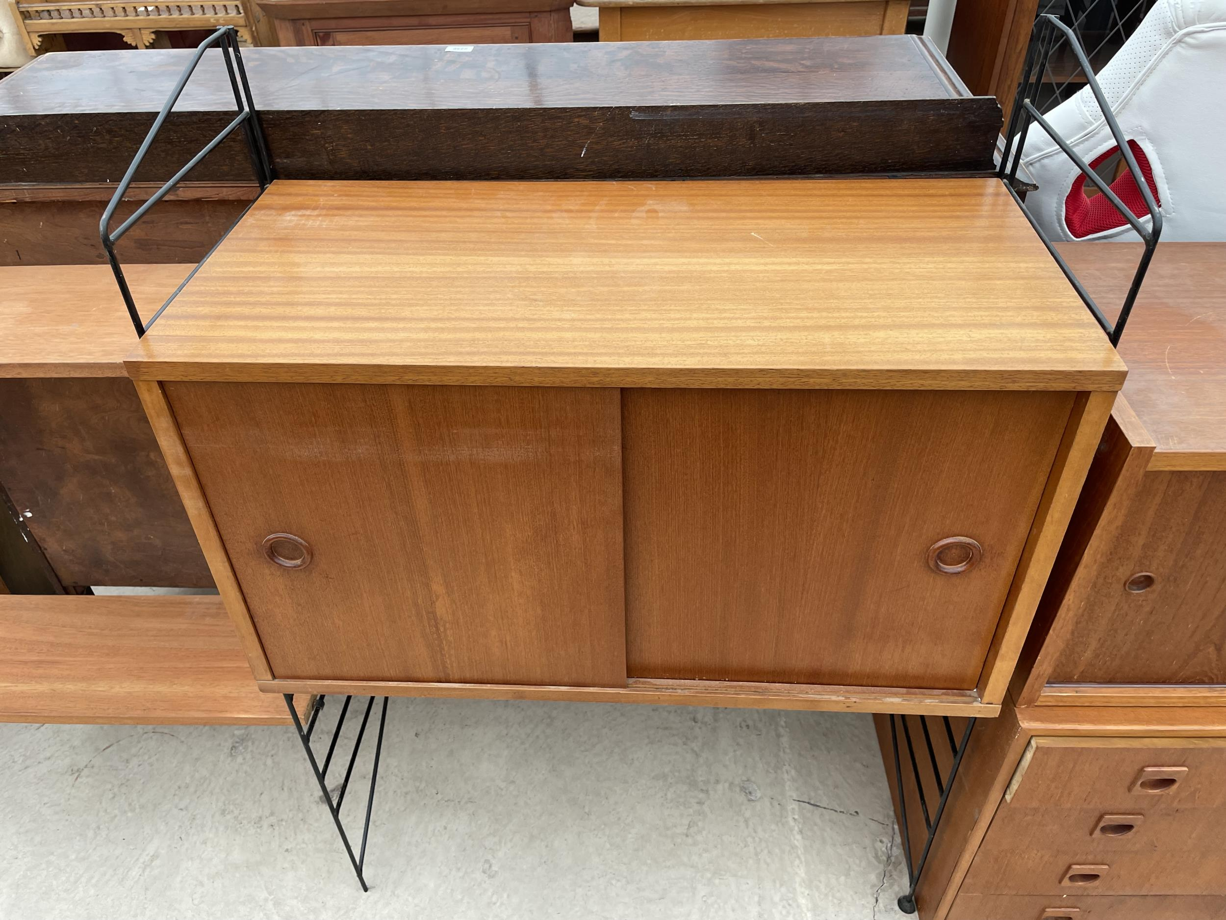 """FOUR SECTION RETRO TEAK LADDERAX STYLE WALL UNIT ENCLOSING CUPBOARD AND DRAWERS 128"""" WIDE IN TOTAL - Image 6 of 6"""