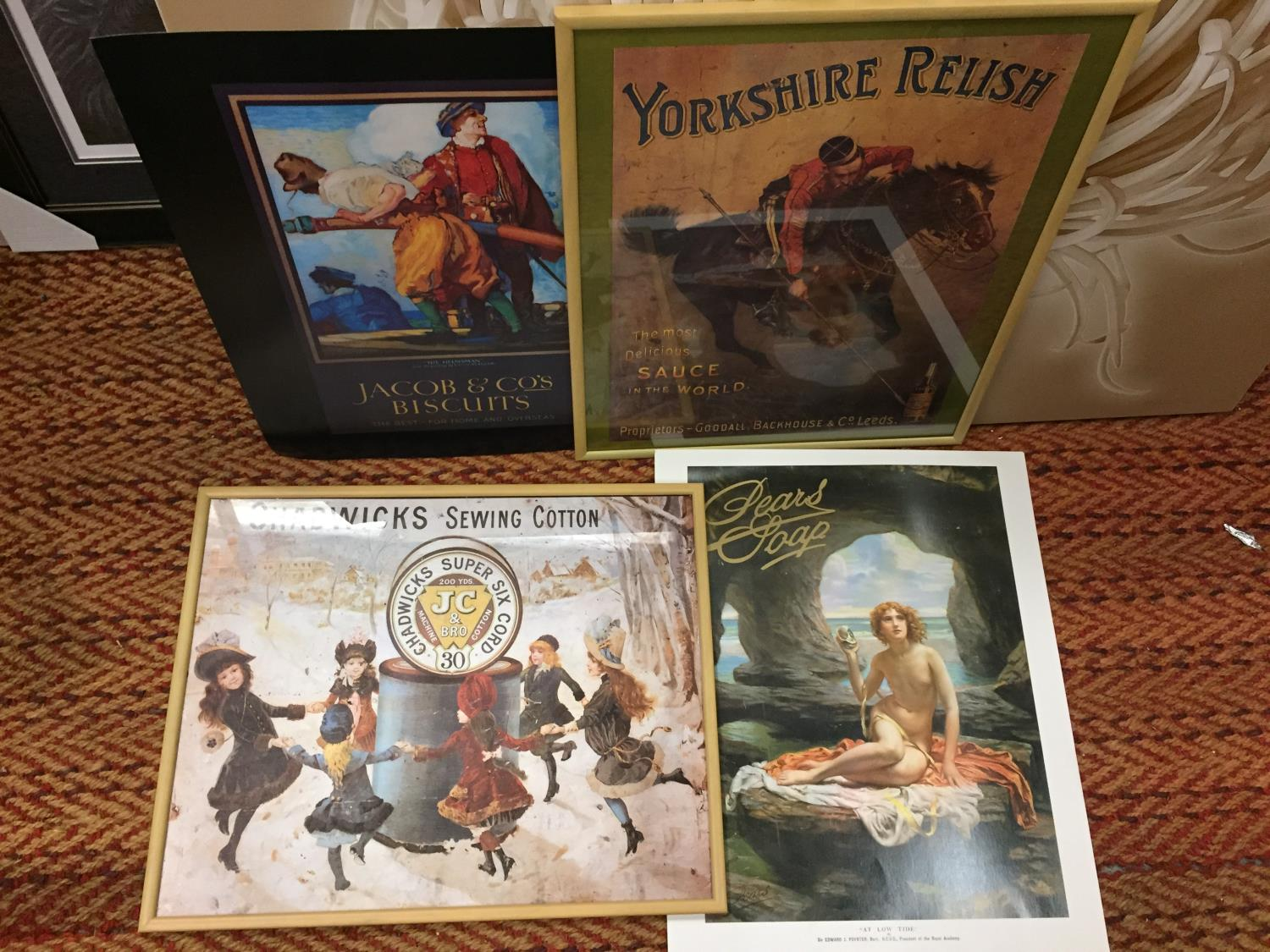 A GROUP OF FOUR ADVERTISING POSTERS, TWO FRAMED TO INCLUDE YORKSHIRE RELISH, PEARS SOAP, JACOBS