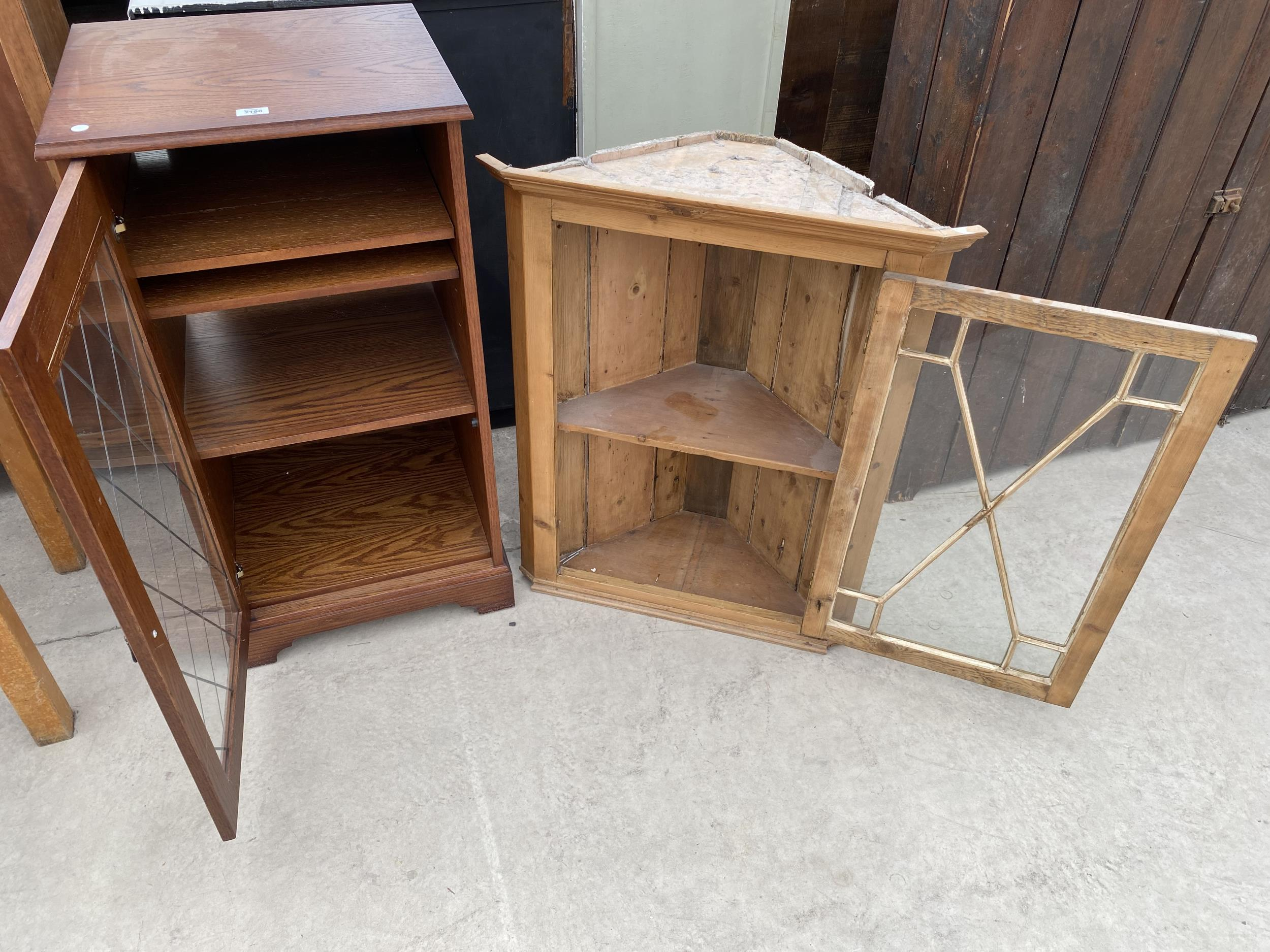 A PINE ASTRAGAL GLAZED CORNER CUPBOARD AND AN OAK STEREO CABINET - Image 2 of 2