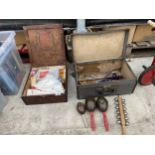 AN ASSORTMENT OF ITEMS TO INCLUDE A VINTAGE FIRST AID KIT, AND VARIOUS MUSICAL INSTRUMENTS (A ONE