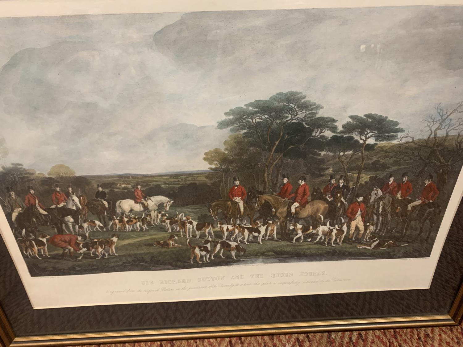 A FRAMED ETCHING OF SIR RICHARD HUTTON AND THE QUORN HOUNDS - Image 3 of 8