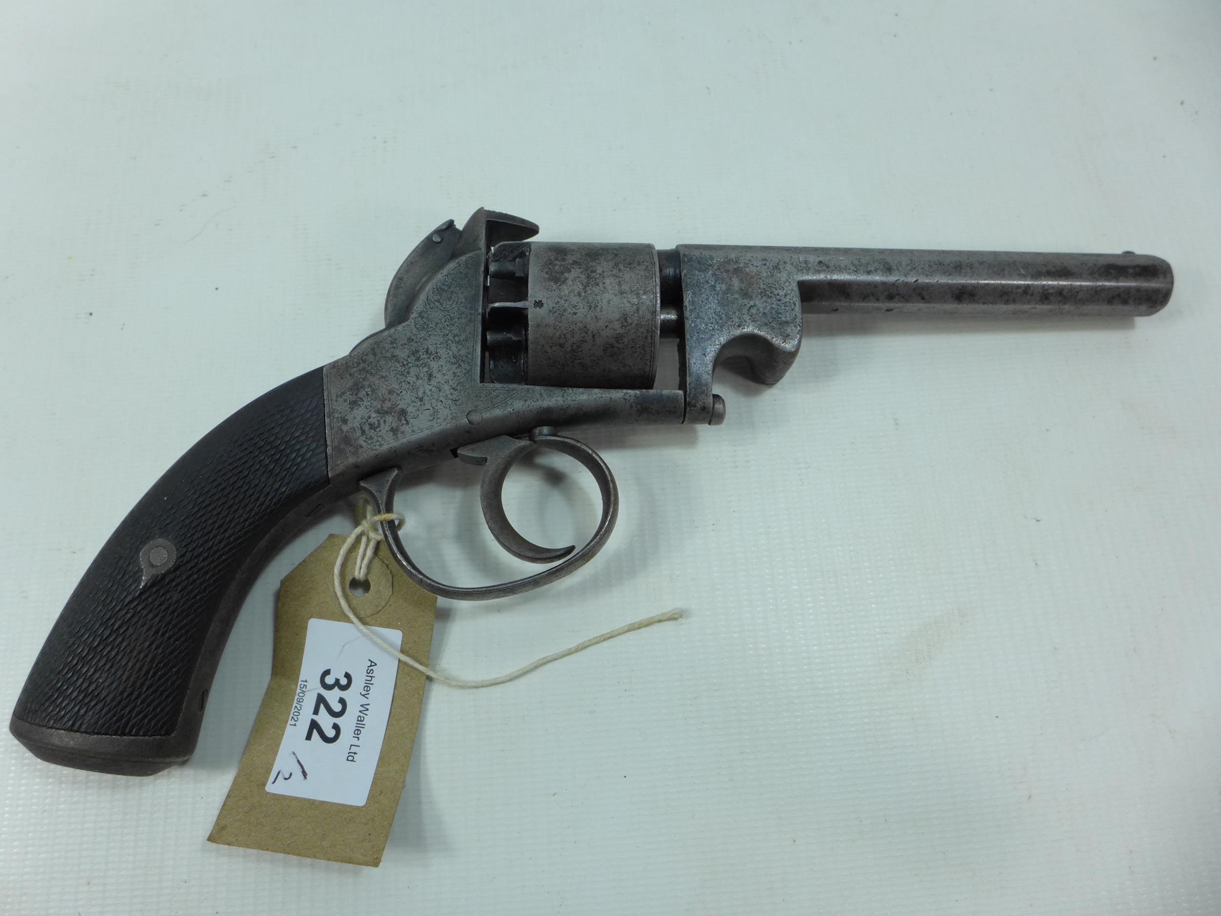 A 19TH CENTURY WEBLEY BENTLEY FIVE SHOT DOUBLE ACTION PERCUSION CAP SPURLESS REVOLVER, 13CM - Image 2 of 8