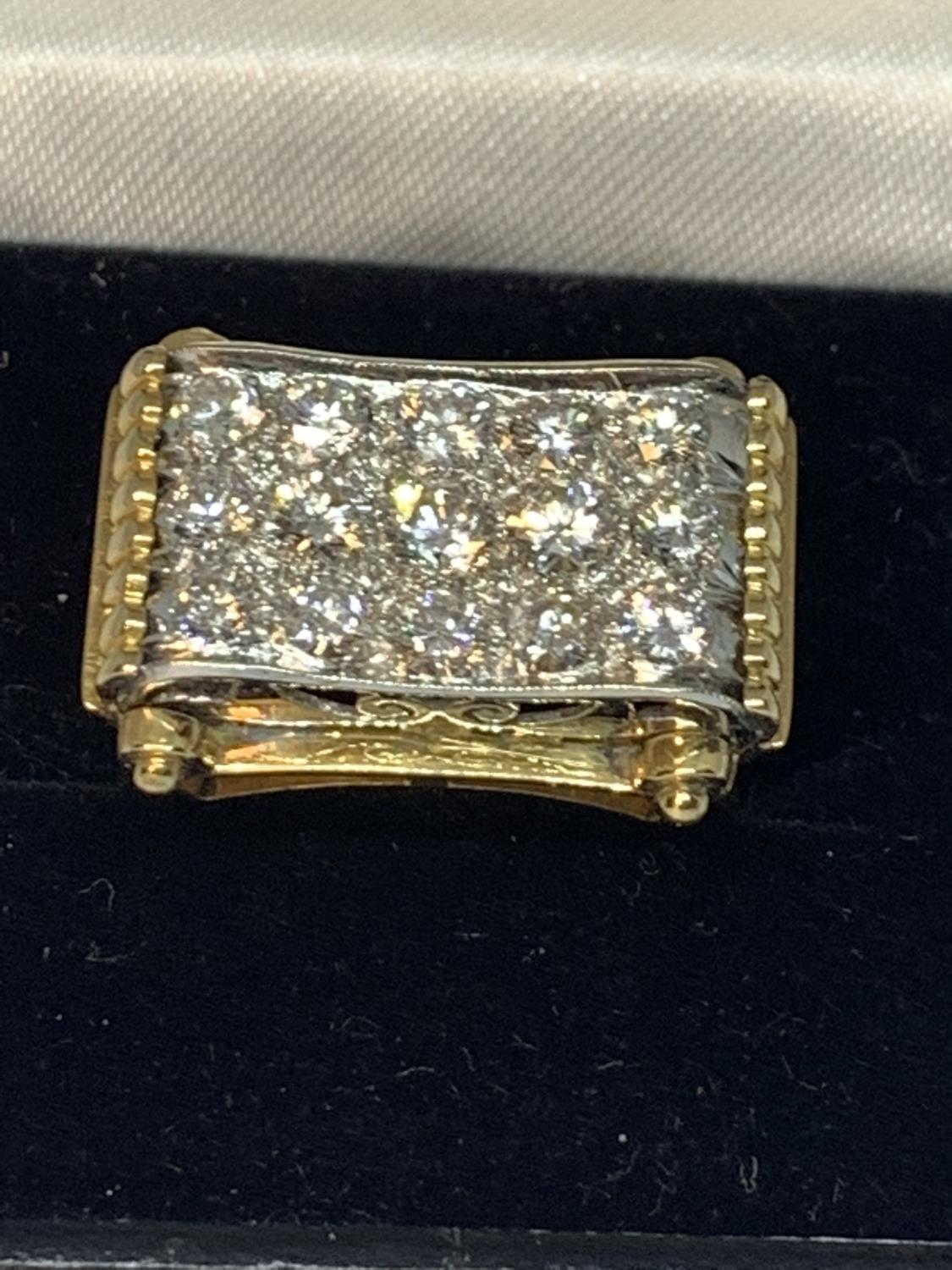 A HEAVY 18 CARAT GOLD RING WITH FIFTEEN DIAMONDS SET IN A RECTANGLE OF DIAMOND CHIPS GROSS WEIGHT 13 - Image 3 of 10