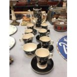 A CARLTON WARE COFFEE SET TO INCLUDE A COFFEE POT, CREAM JUG, SUGAR BOWL AND CUPS WITH SAUCERS