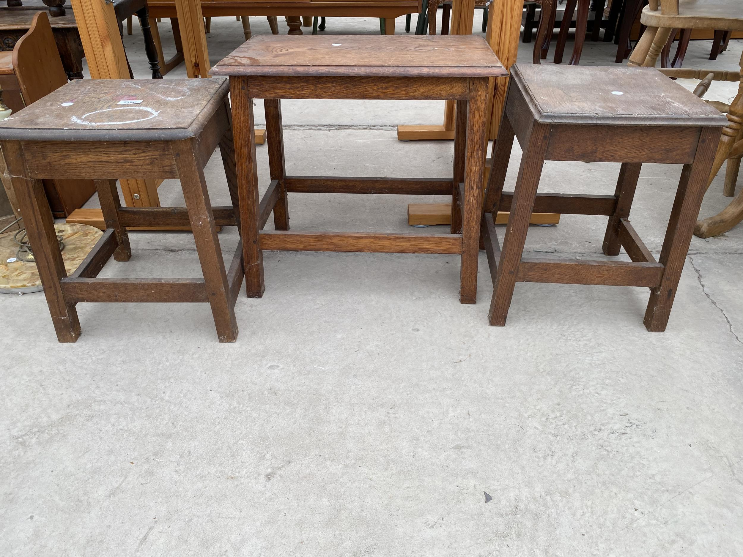 THREE OAK STOOLS - Image 3 of 3