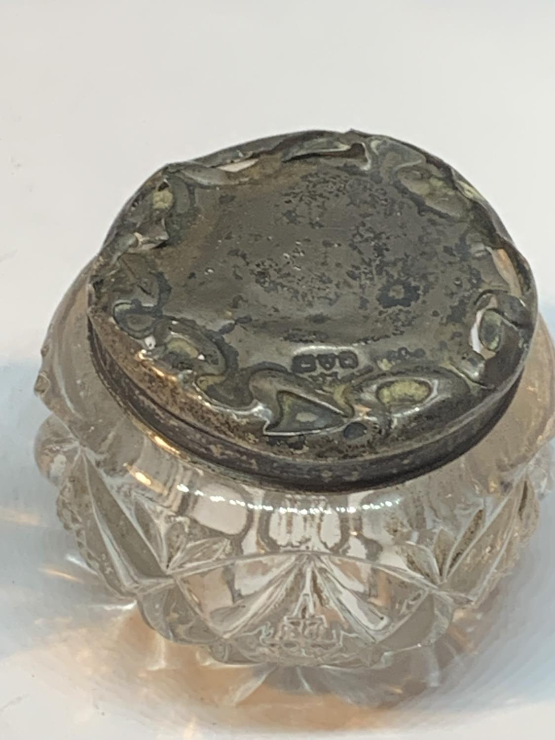 TWO GLASS POTS ONE WITH A HALLMARKED BIRMINGHAM SILVER RIM AND ONE WITH AN INDISTINCT HALLMARKED - Image 3 of 3