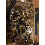 A BASKET CONTAINING VARIOUS WATCHES AND A BRASS BELL