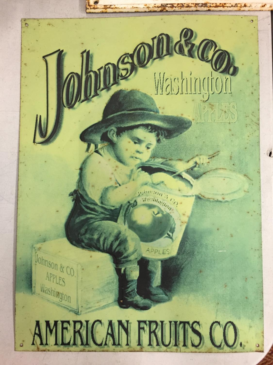 A METAL 'JOHNSON & CO APPLES' SIGN - Image 2 of 2