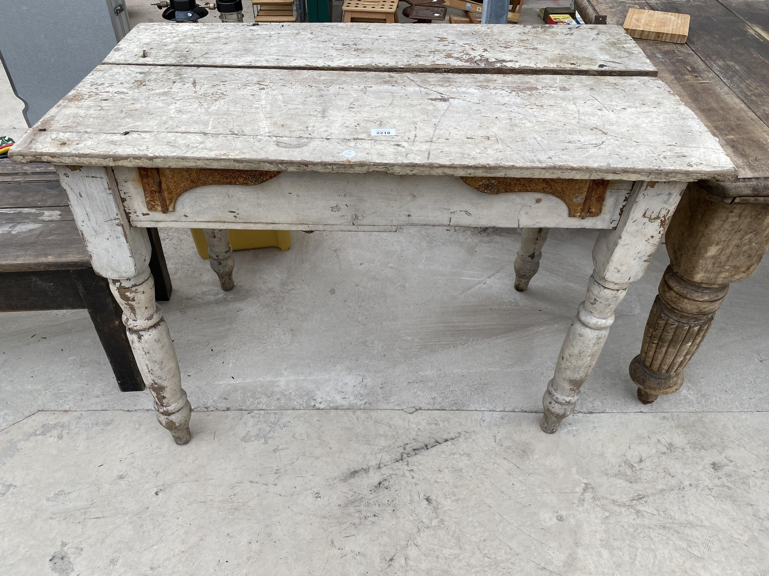 """A VICTORIAN PINE KITCHEN TABLE 42""""X24"""""""