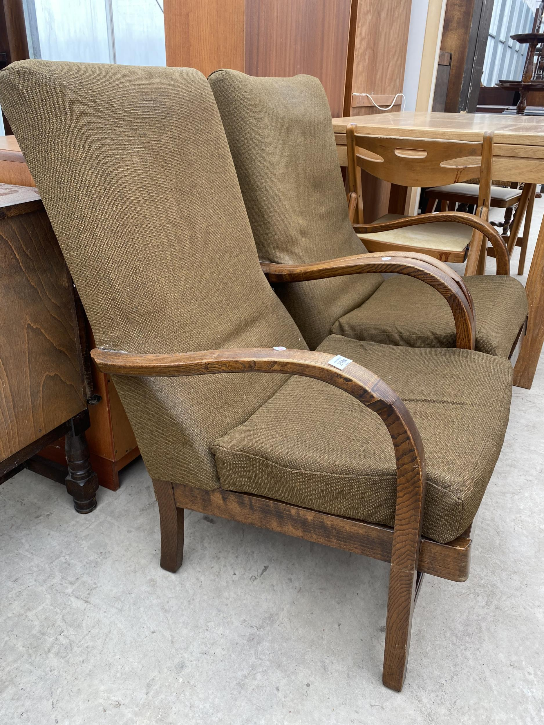 A PAIR OF ART DECO STYLE FIRESIDE CHAIRS - Image 2 of 4