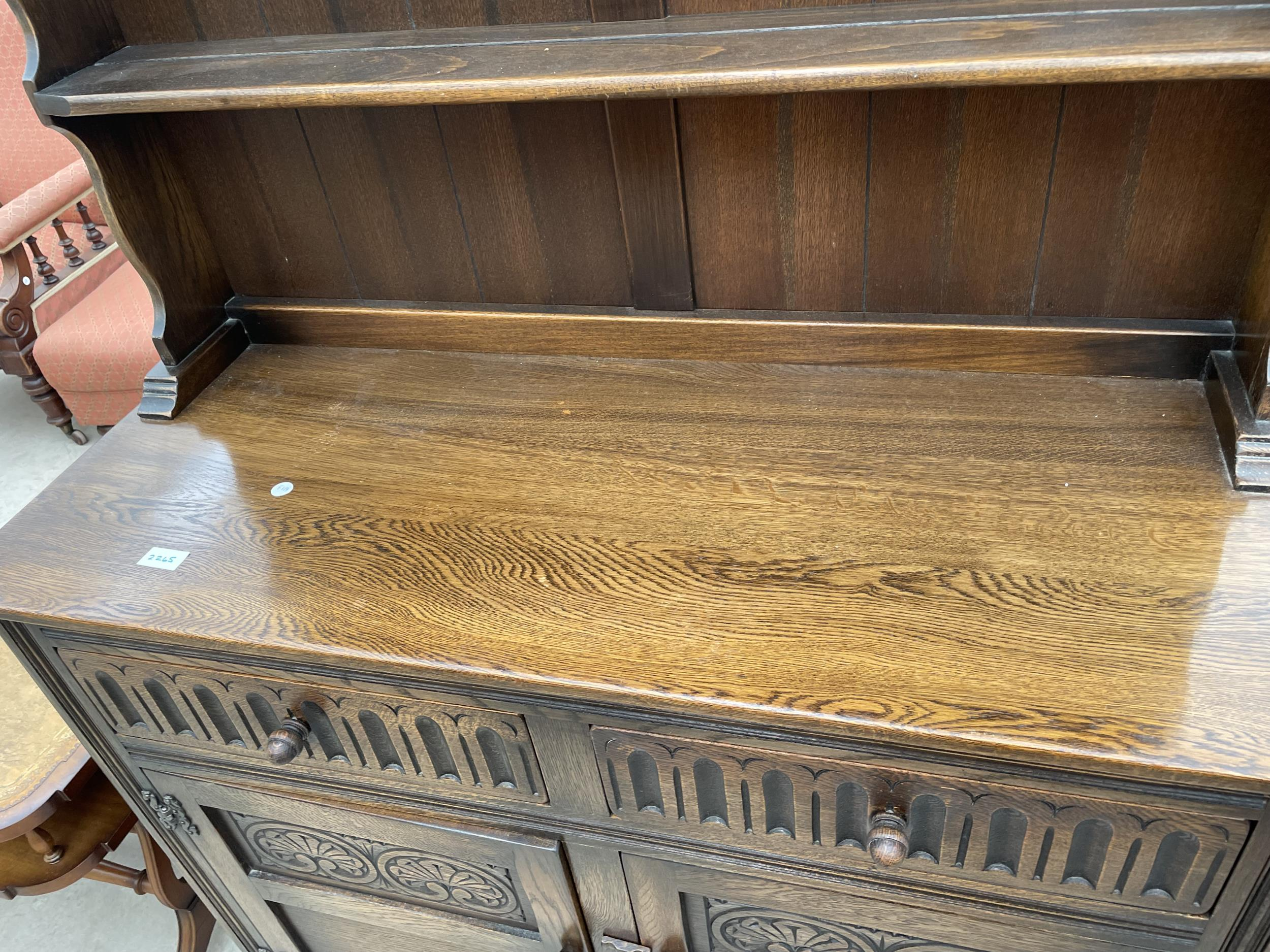"""AN OAK OLD CHARM STYLE DRESSER WITH PLATE RACK 42"""" WIDE - Image 3 of 4"""