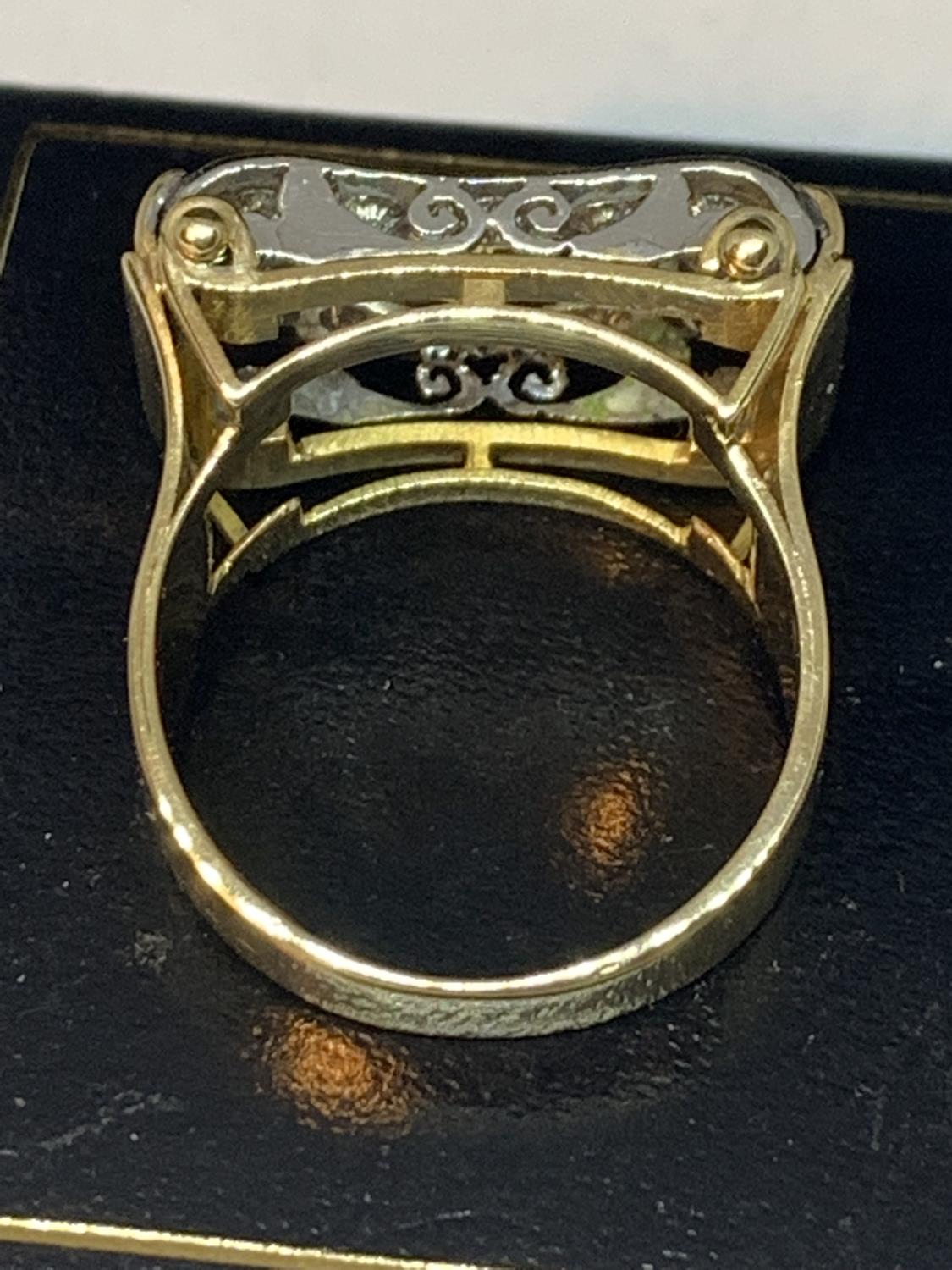 A HEAVY 18 CARAT GOLD RING WITH FIFTEEN DIAMONDS SET IN A RECTANGLE OF DIAMOND CHIPS GROSS WEIGHT 13 - Image 9 of 10