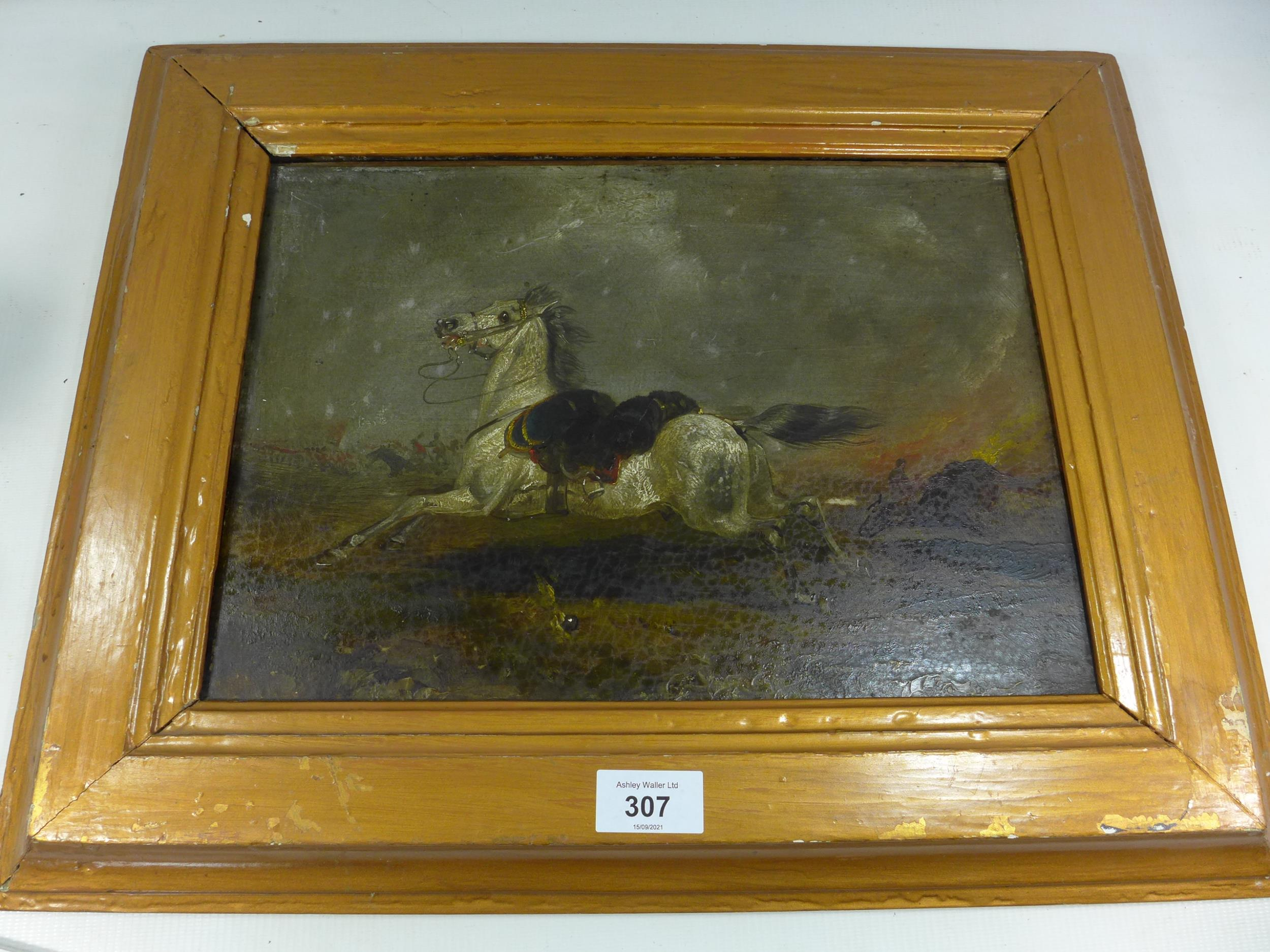 A 19TH CENTURY OIL ON PANEL PAINTING OF A GREY RIDERLESS HORSE IN A NAPOLEONIC WAR BATTLE SCENE,