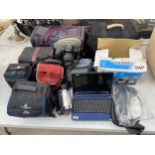 AN ASSORTMENT OF ITEMS TO INCLUDE A NIKON F50 CAMERA,A JVC CAMCORDER, AN ACER LAPTOP AND CAMERA BAGS