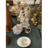 A COLLECTION OF FIGURINES TO INCLUDE A PAIR OF REGENCY STYLE AND A TRINKET BOX