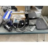 AN ASSORTMENT OF ITEMS TO INCLUDE TOASTERS, A SONY STEREO AND IRONS ETC