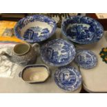 A COLLECTION OF BLUE AND WHITE CHINA BOWLS, PLATES AND A TEAPOT (NO LID)