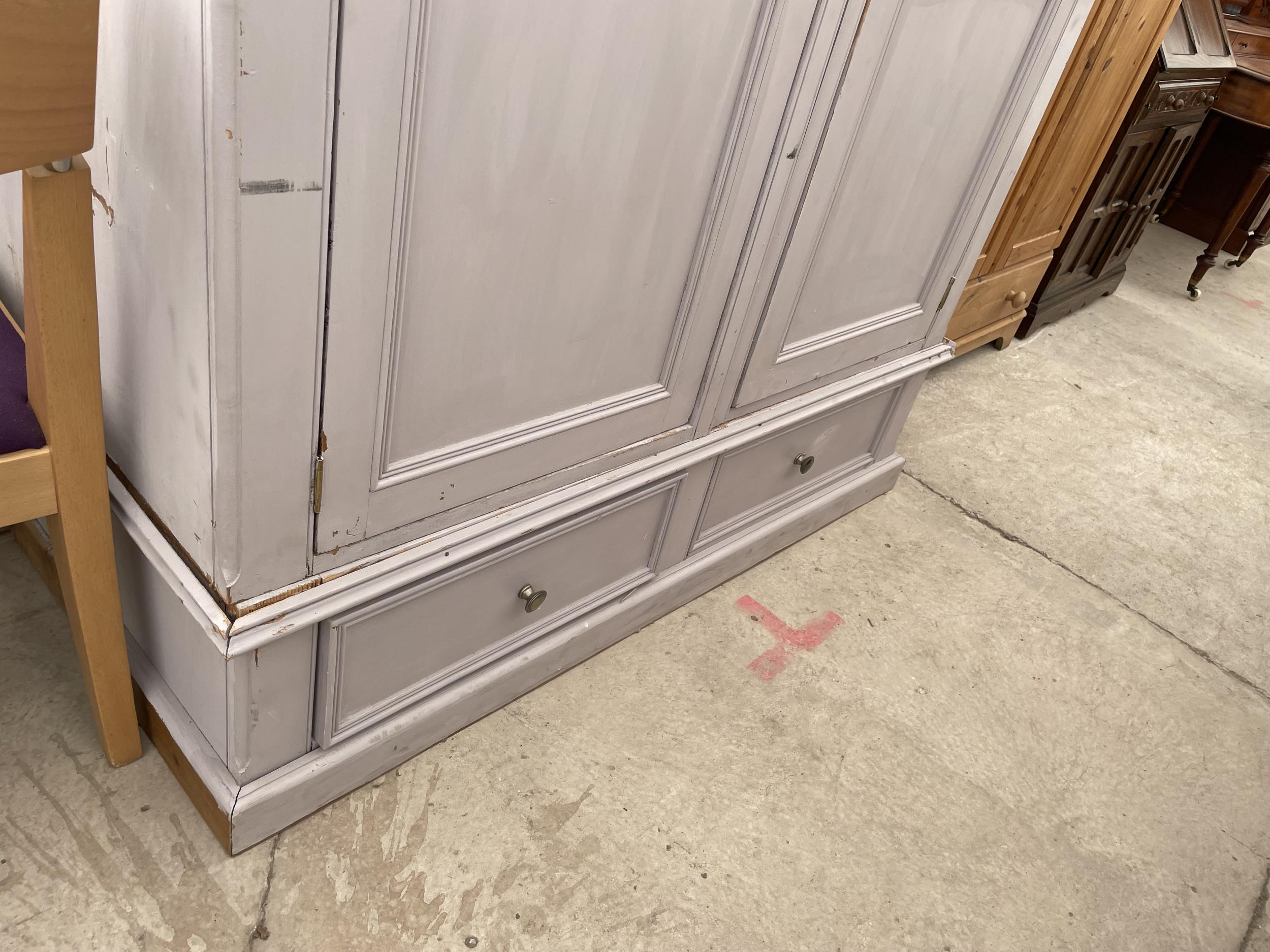 """A PAINTED PINE TWO DOOR WARDROBE WITH TWO DRAWERS TO THE BASE W:56.5"""" H:88"""" - Image 3 of 5"""