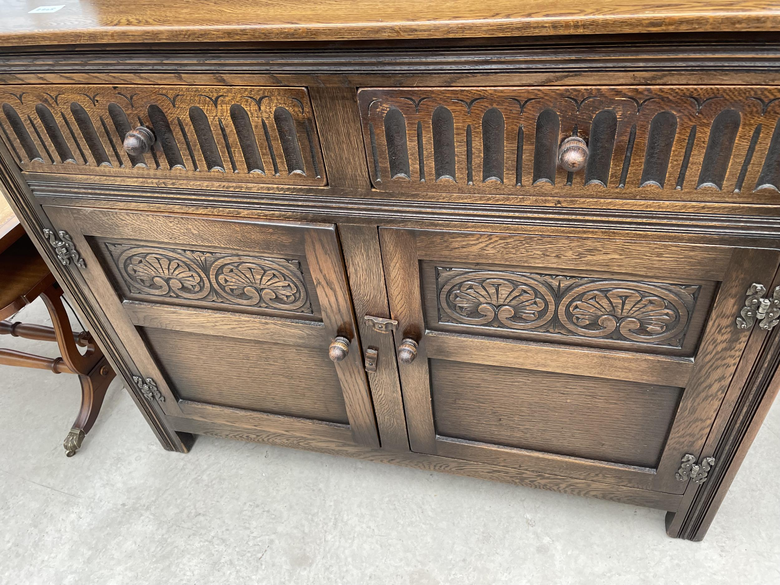"""AN OAK OLD CHARM STYLE DRESSER WITH PLATE RACK 42"""" WIDE - Image 4 of 4"""