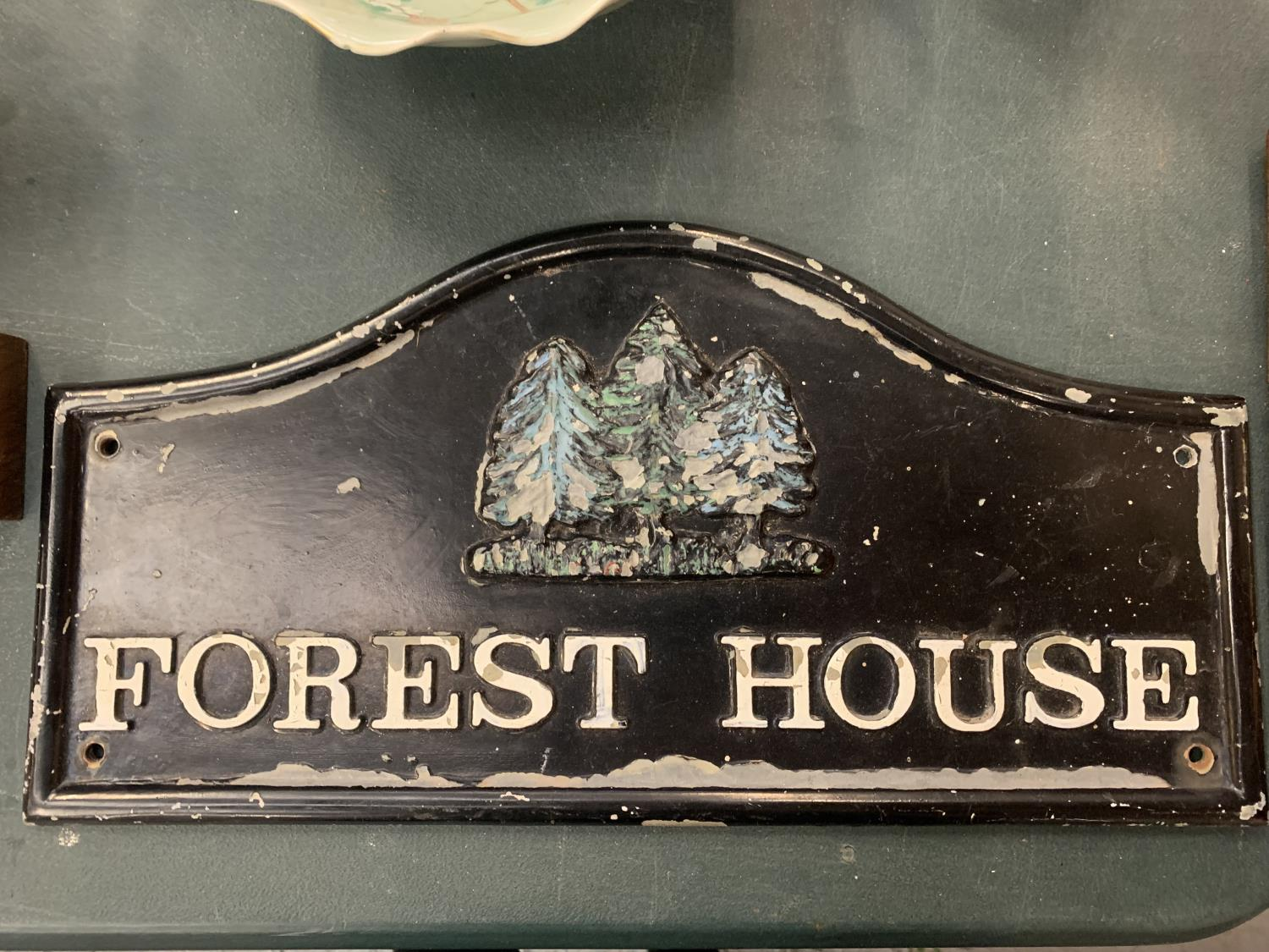 """A CAST IRON SIGN """"FOREST HOUSE """""""