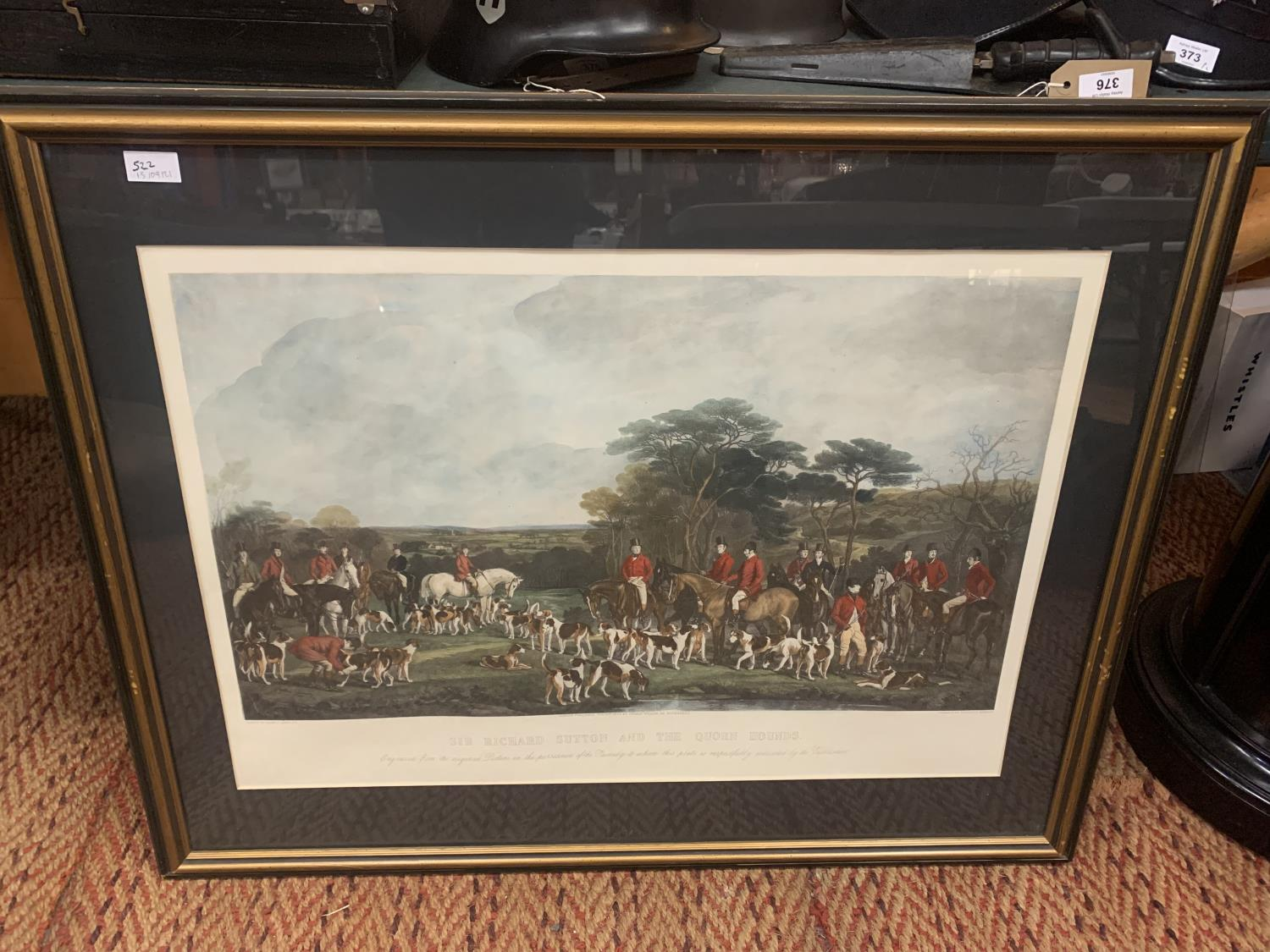A FRAMED ETCHING OF SIR RICHARD HUTTON AND THE QUORN HOUNDS