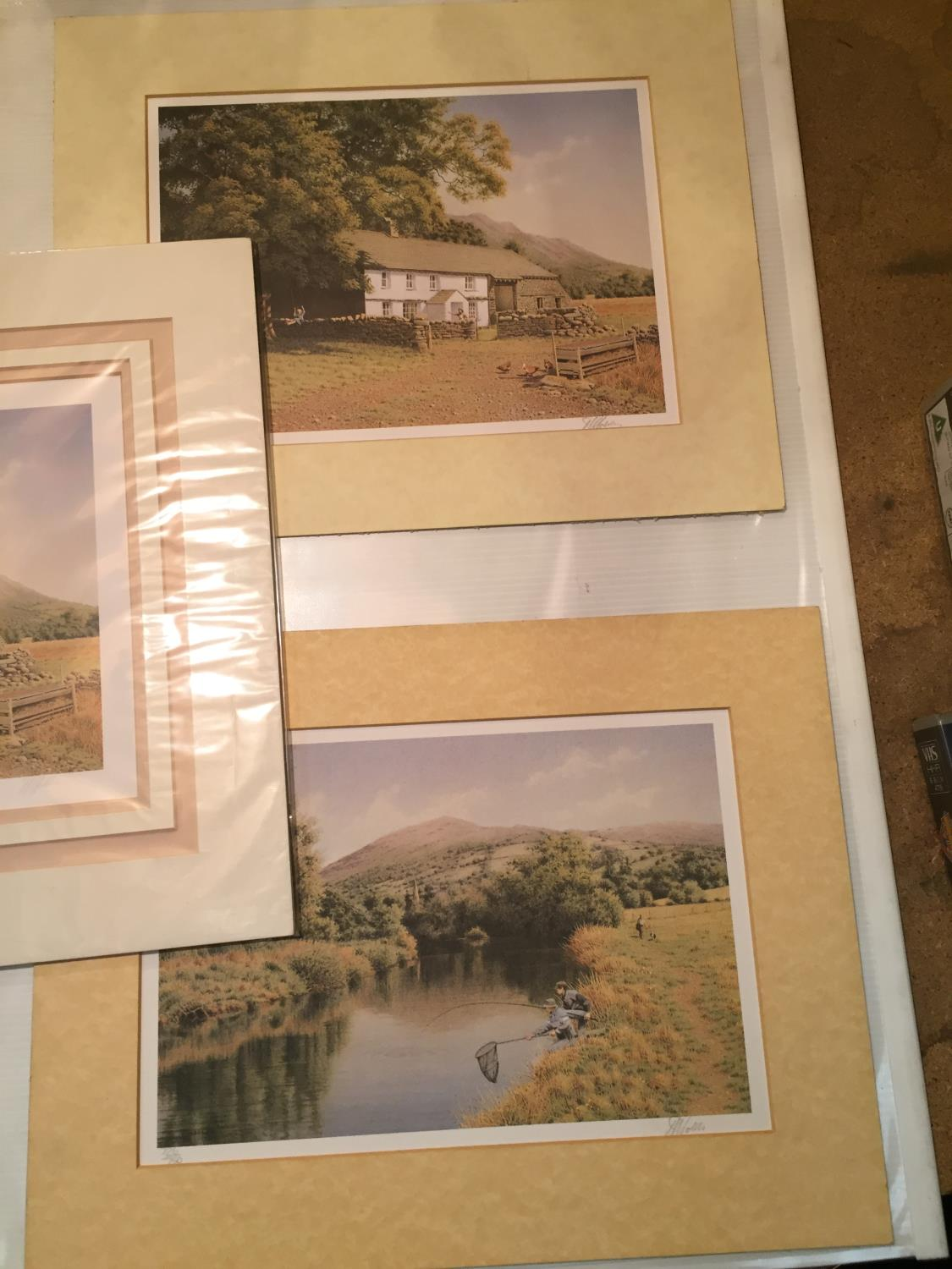 THREE MOUNTED SIGNED PRINTS OF FARM SCENES IN A HARDBACK PROTECTIVE FOLDER - Image 3 of 12