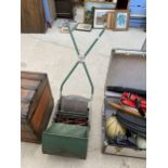 A VINTAGE RANSOMES 12 IN AJAX MK 5 PUSH LAWN MOWER WITH GRASS BOX