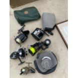 AN ASSORTMENT OF FISHING REELS TO INCLUDE A MORRITT SURFCAST, THE AMBIDEX AND A SILVER SHIN ETC