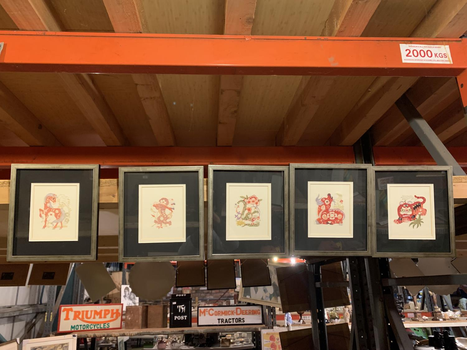 FIVE COLLAGE ORIENTAL STYLE INSPIRED FRAMED PIECES OF ART