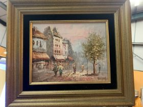 A GILT FRAMED MID /LATE 20TH CENTURY OIL ON CANVAS OF A PARISIAN SCENE WITH INDISTINCT SIGNATURE