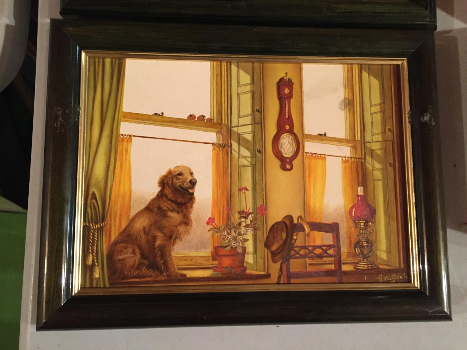TWO FRAMED PAINTINGS OF A CAT IN A WINDOW AND A DOG IN A WINDOW - Image 4 of 6