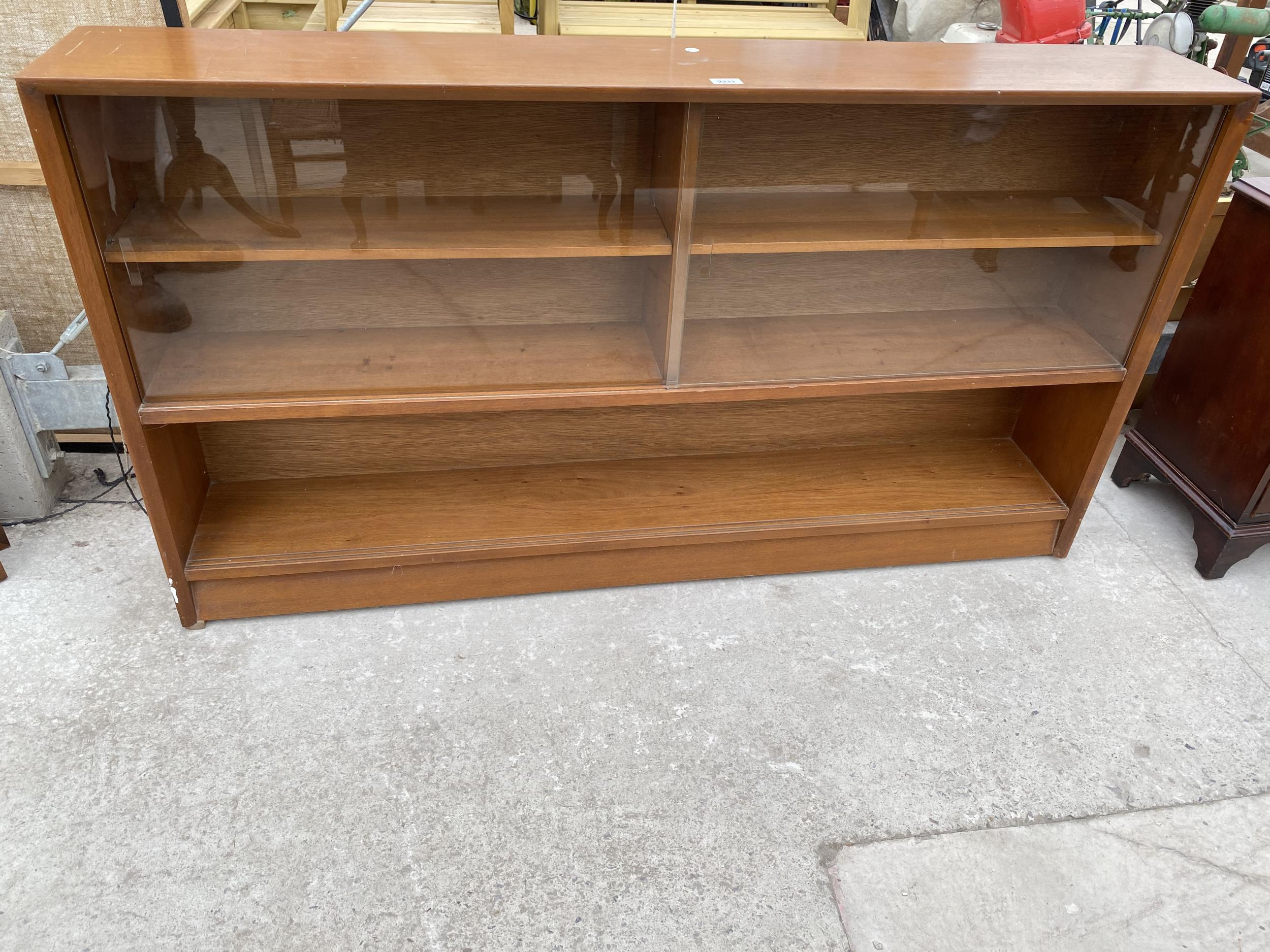 """A RETRO TEAK HERBENT AND GIBBS GLASS FRAMED BOOKCASE 60"""" WIDE"""