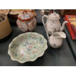 A JAPENESE STYLE COLLECTION TO INCLUDE A JAPENESE STYLE LIDDED JAR, TEA POT , JUG AND A PAINTED BOWL