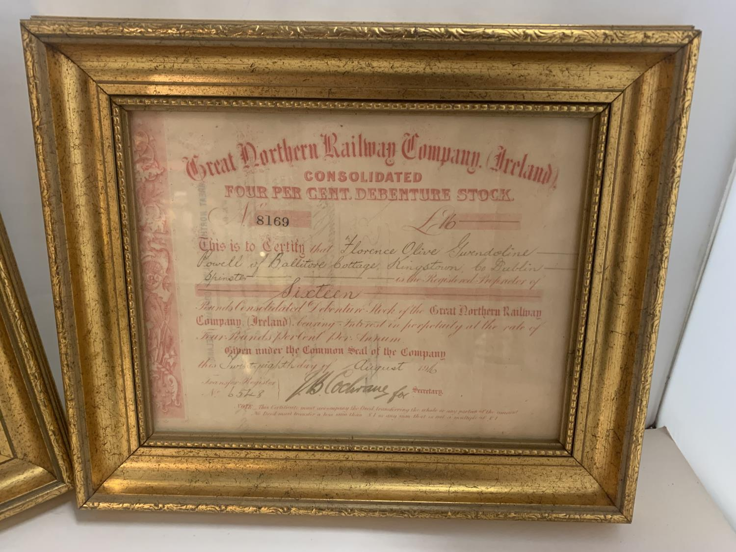 TWO GILT FRAMED GREAT NORTHERN RAILWAY SHARES CERTIFICATES - Image 6 of 6