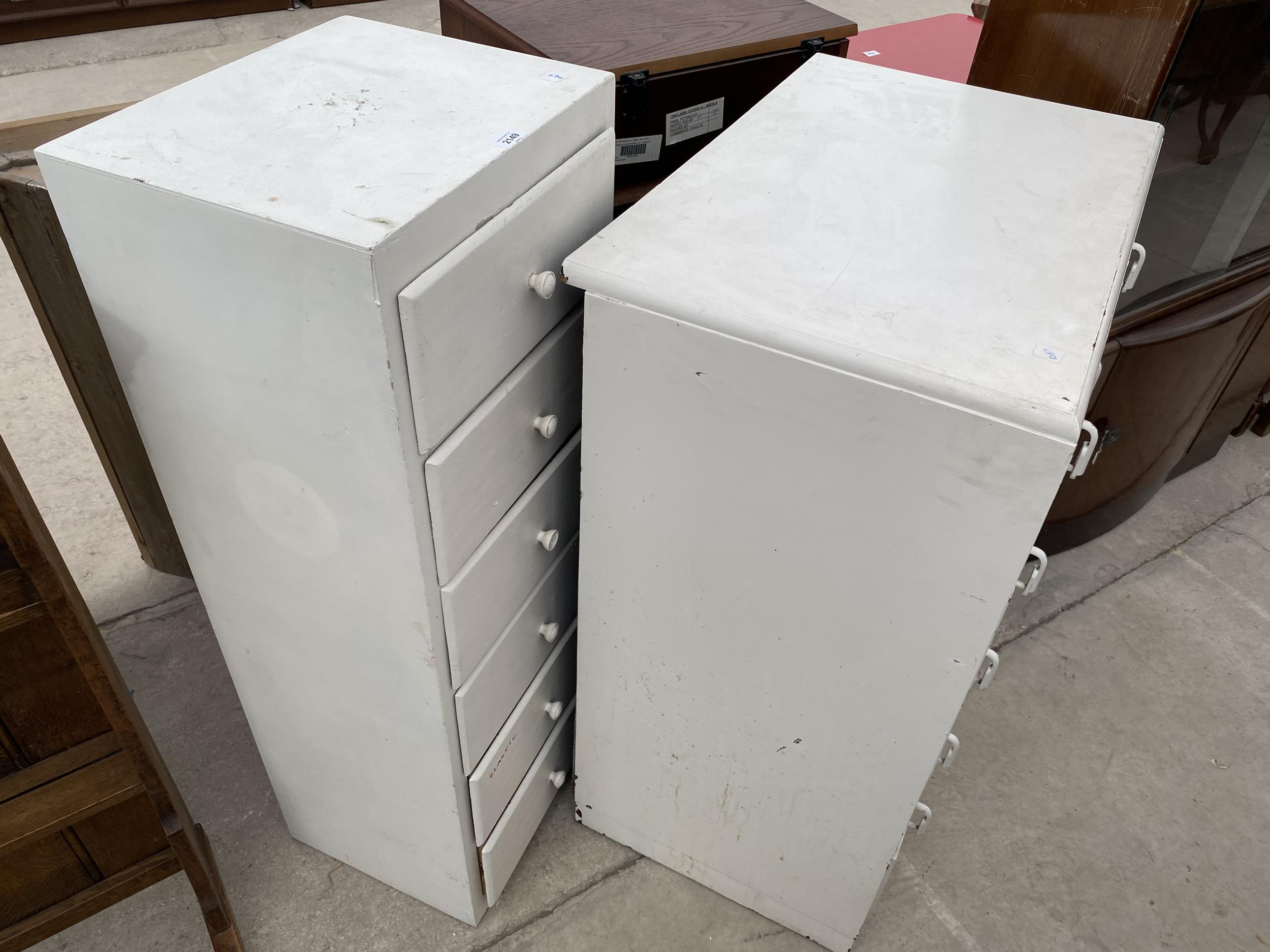 """A PAINTED CHEST OF FIVE DRAWERS 29"""" WIDE AND A SMALLER CHEST 16"""" WIDE - Image 3 of 3"""