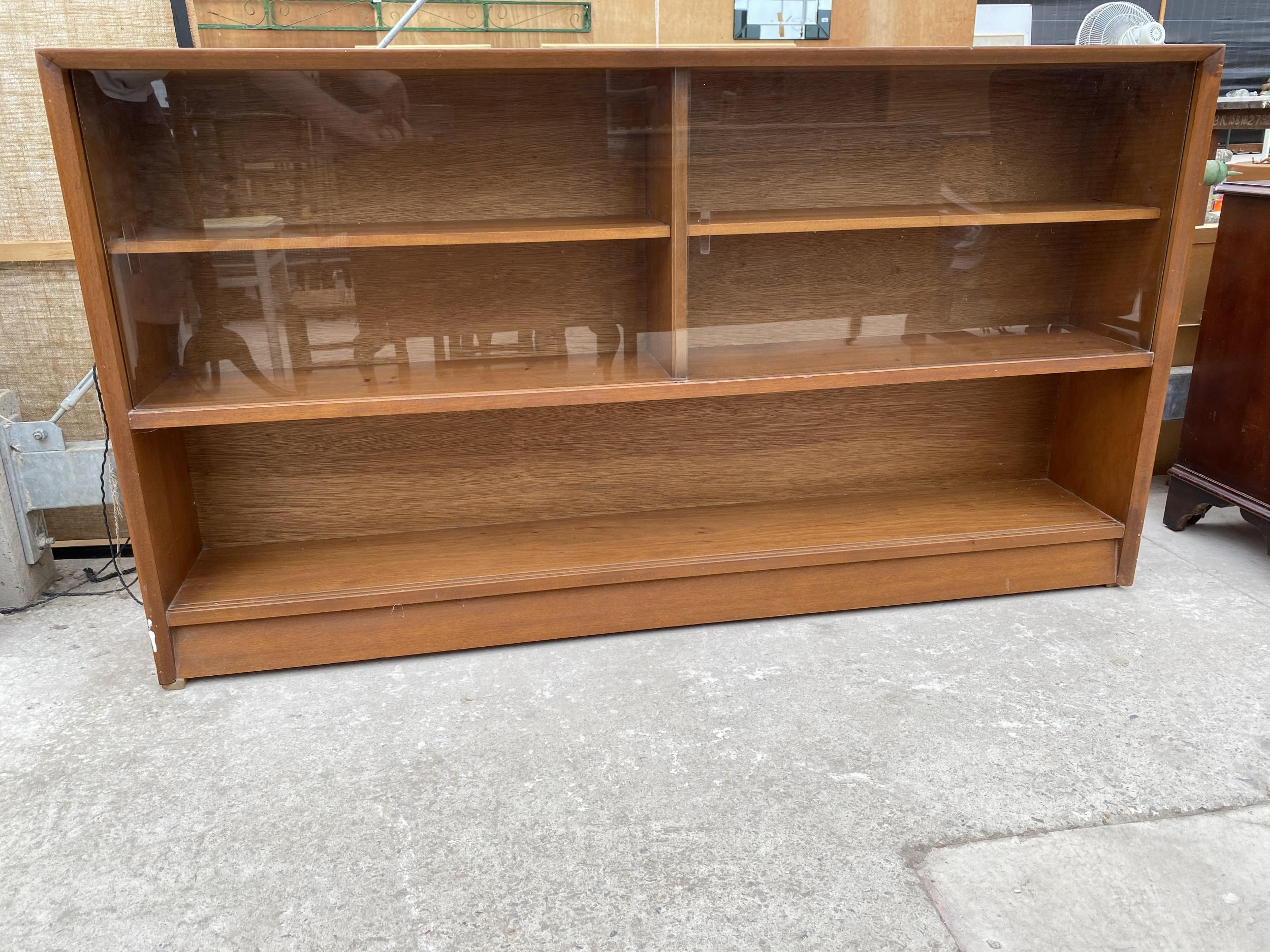 """A RETRO TEAK HERBENT AND GIBBS GLASS FRAMED BOOKCASE 60"""" WIDE - Image 2 of 6"""